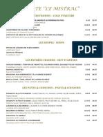 Carte Du Restaurant Le Mistral Dîner