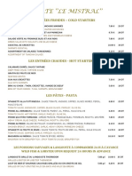 Carte Du Restaurant Le Mistral Dejeuner