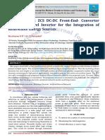 An Multi-Input ZCS DC-DC Front-End- Converter Based Multilevel Inverter for the Integration of Renewable Energy Sources