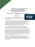 Testimony of Julia Gordon, Center for Responsible Lending