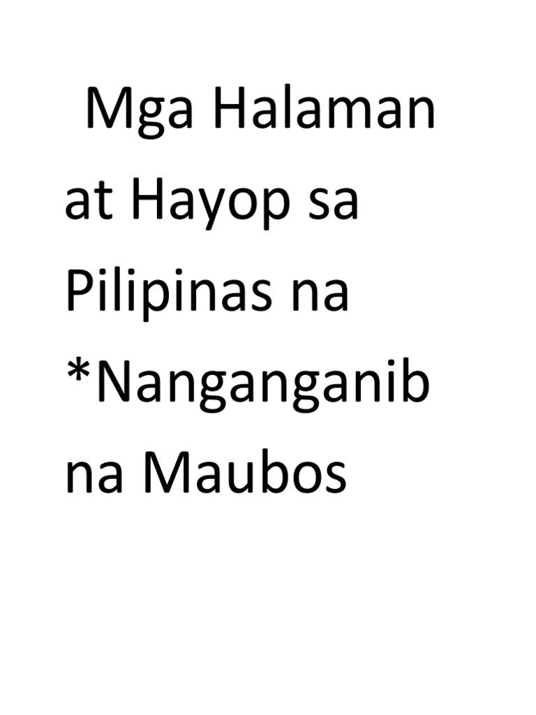 Mga Halaman at Hayop Sa Pilipinas Na Nanganganib Na Maubos