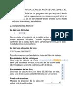 UNIDAD N°1 INTRODUCCIÓN A LA HOJA DE CALCULO EXCEL