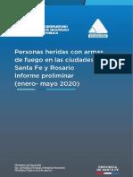 Informe heridos armas de fuego en las ciudades de Santa Fe  y Rosario  de enero a mayo del 2020