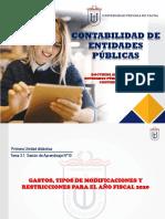 Tema 3.1 Gastos presupuestarios, modificaciones y sus restricciones para el 2020 (1)