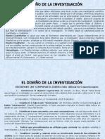 EL DISEÑO DE LA INVESTIGACION