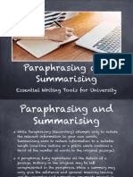 Paraphrasing and Summarising