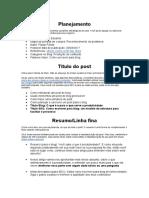 template planejamento Artigo de Blog