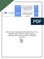 PROTOCOLOS PARA COVID-19  LABORATORIO CLINICO  SANTA TERESITA