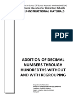 Addition of Decimal Numbers Through Hundredths Without and With Regrouping