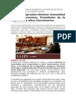 Congreso aprueba Inmunidad Parlamentaria  y Presidencial