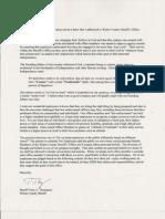 Sheriff Thompson's Response to Letter