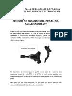 SÍNTOMAS DE FALLA DE EL SENSOR DE POSICIÓN DEL PEDAL DEL ACELERADOR ELECTRÓNICO APP