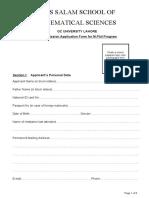 Admission Form MPhil ASSMS 1