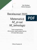 Bacalaureat 2020 Matematica M Stiintele naturii, M Tehnologic