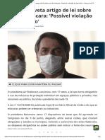 Bolsonaro veta artigo de lei sobre uso de máscara_ 'Possível violação de domicílio' - Terça Livre TV