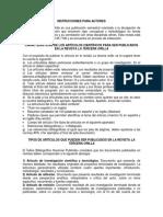 INSTRUCCIONES PARA AUTORES LA TERCERA ORILLA