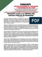 CENAJUPE LLLAMA A LA DEFENSA DEL SISTEMA PUBLICO DE PENSIONES