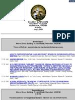 July 9 Fauquier Supervisors Agenda