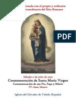 20 de Junio de 2020. Conmemoración de Santa María Virgen en Sábado y San Pío. Propio y Ordinario de la santa misa