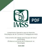 Lineamiento Operativo para la Atención Psicológica de 1er Contacto a Trabajadores IMSS 04jun