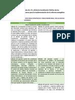 Cambios en los artículos 25, 27 y 28 de la Constitución Política de los Estados Unidos Mexicanos para la implementación de la reforma energética
