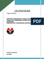 Tugas Individu Kewirausahaan - Gustian Lestianto ( 0605888 )