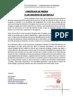 Comunicado de Prensa - Sobre Los Procesos de Matricula