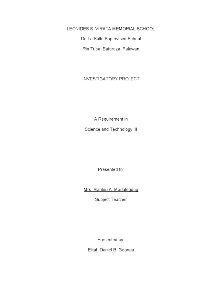 science investigatory format investigatory project in science biology example of a research paper investigatory paper sample