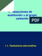 1. Reacciones de sustitución alfa al grupo carbonilo