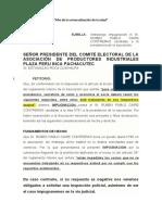 TACHA AL CANDIDATO DE LA ASOCIACION 2020