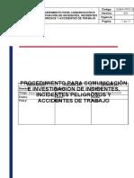 SSMA-PRO-003 Comunicación e investigación de incidentes, incidentes peligrosos y accidentes de trabajo