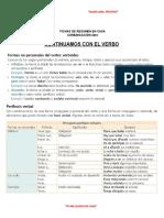 FICHA DE RESUMEN - FORMAS NO PERSONALES DEL VERBO