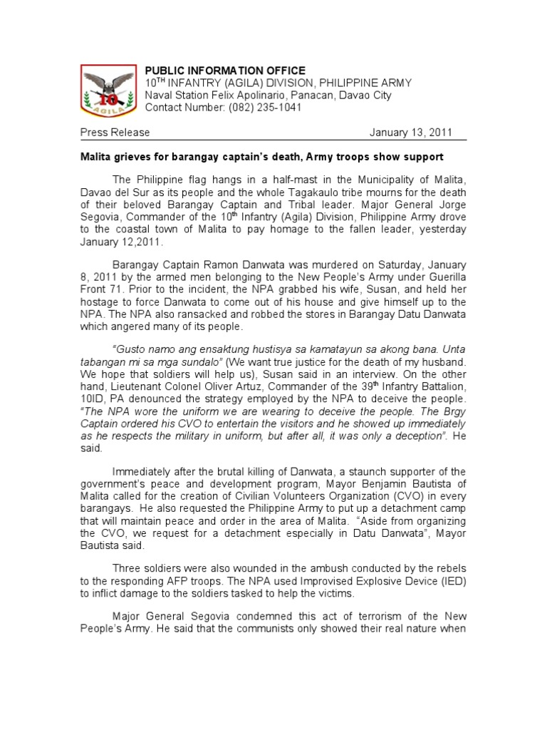 Malita Grieves For Barangay Captains Death Army Troops Show Del City Press Release Support Human Rights Abuses Military Science