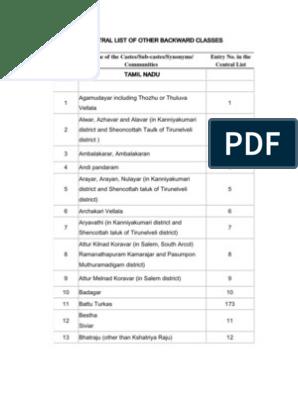 Tamilnadu OBC List