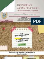 Articulo Sobre El Derecho a La Igualdad y La No Discriminacion