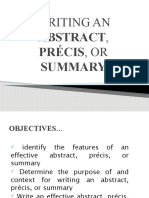 writing an article, precis and summary