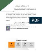 Instalacion de Windows 10 en VMware Worktation