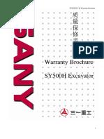 SY500H Excavator-Warranty Brochure