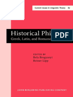 (Current Issues in Linguistic Theory 87) Bela Brogyanyi, Reiner Lipp - Historical Philology_ Greek, Latin, and Romance. Papers in honor of Oswald Szemerényi II-John Benjamins Publishing Company (1992)