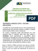 AULA DE CONTABILIDADE ANALITICA  - ANALISE PONTO DE EQUILIBRIO UNISANTIAGO II.pdf