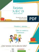 tarjetas ABCD adición y sustracción