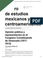 9 Opinión pública y representación en el Congreso Constituyente de Venezuela (1811-1812)