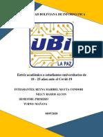 Estres Academico en Estudiantes Universitarios de 18 a 25 Años Frente Al Covid-19 (Investigacion Estadistica )