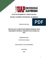 """""""EFICACIA DE LA HABILITACIÓN URBANA MUNICIPAL EN EL CRECIMIENTO INFORMAL URBANÍSTICO EN CHORRILLOS, 2020"""""""