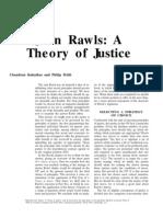 John Rawls a Theory of Justice