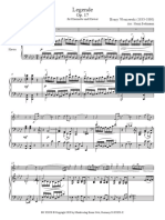 Legende:Wieniawski - Partitur für Klarinette in B und Klavier