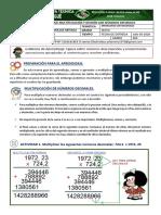 GUIA DE APRENDIZAJE- MULTIPLICACIÓN Y DIVISÓN DE NÚMEROS DECIMALES