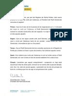 Comunicat del PDECat sobre el canvi de registre de partits