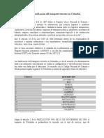 Normas y clasificación del transporte terrestre en Colombia
