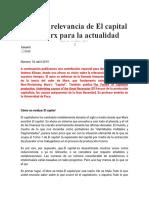 Sobre la relevancia de El capital de Marx para la actualidad